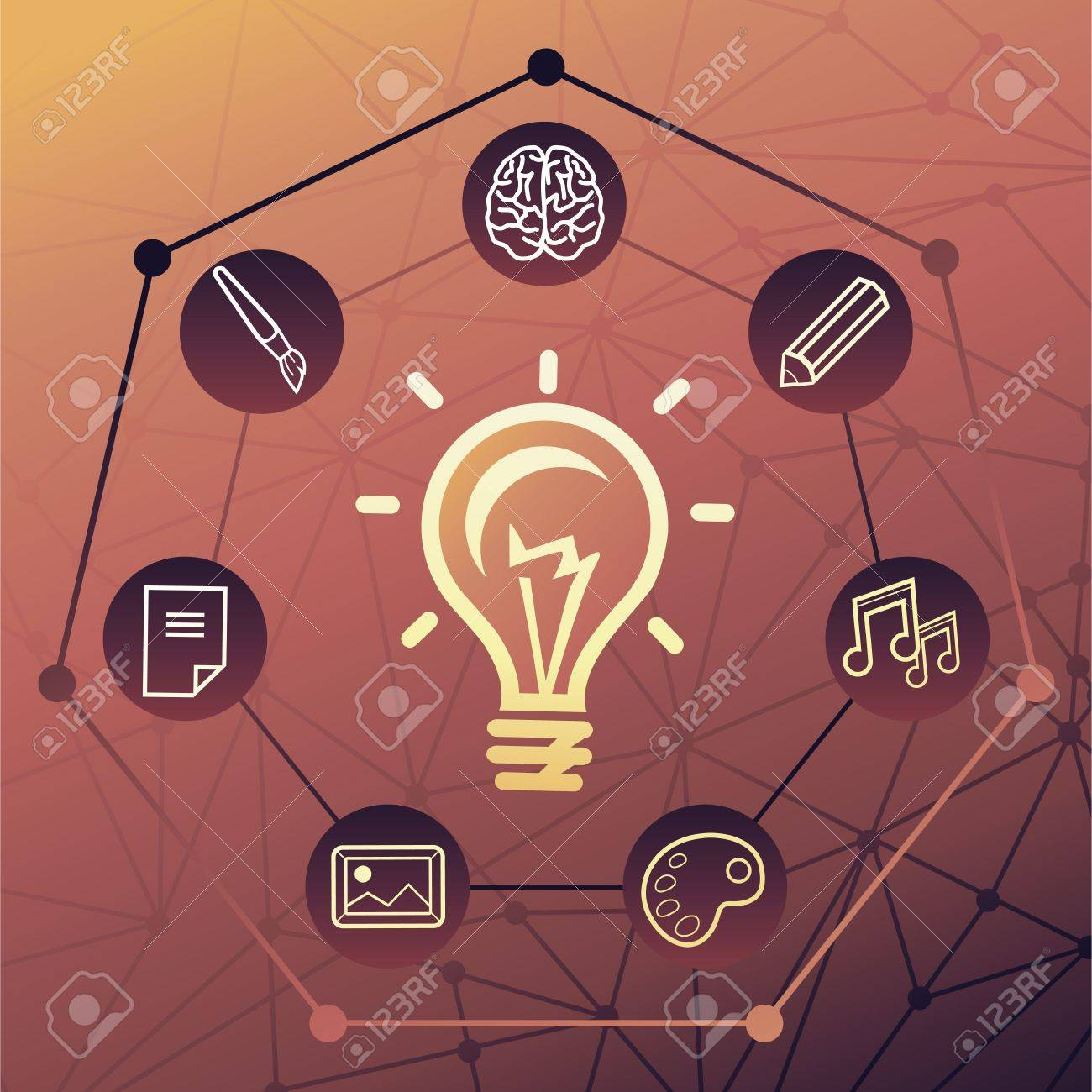 Vector idea concept - creative background with light bulb icon Stock Vector - 16307104