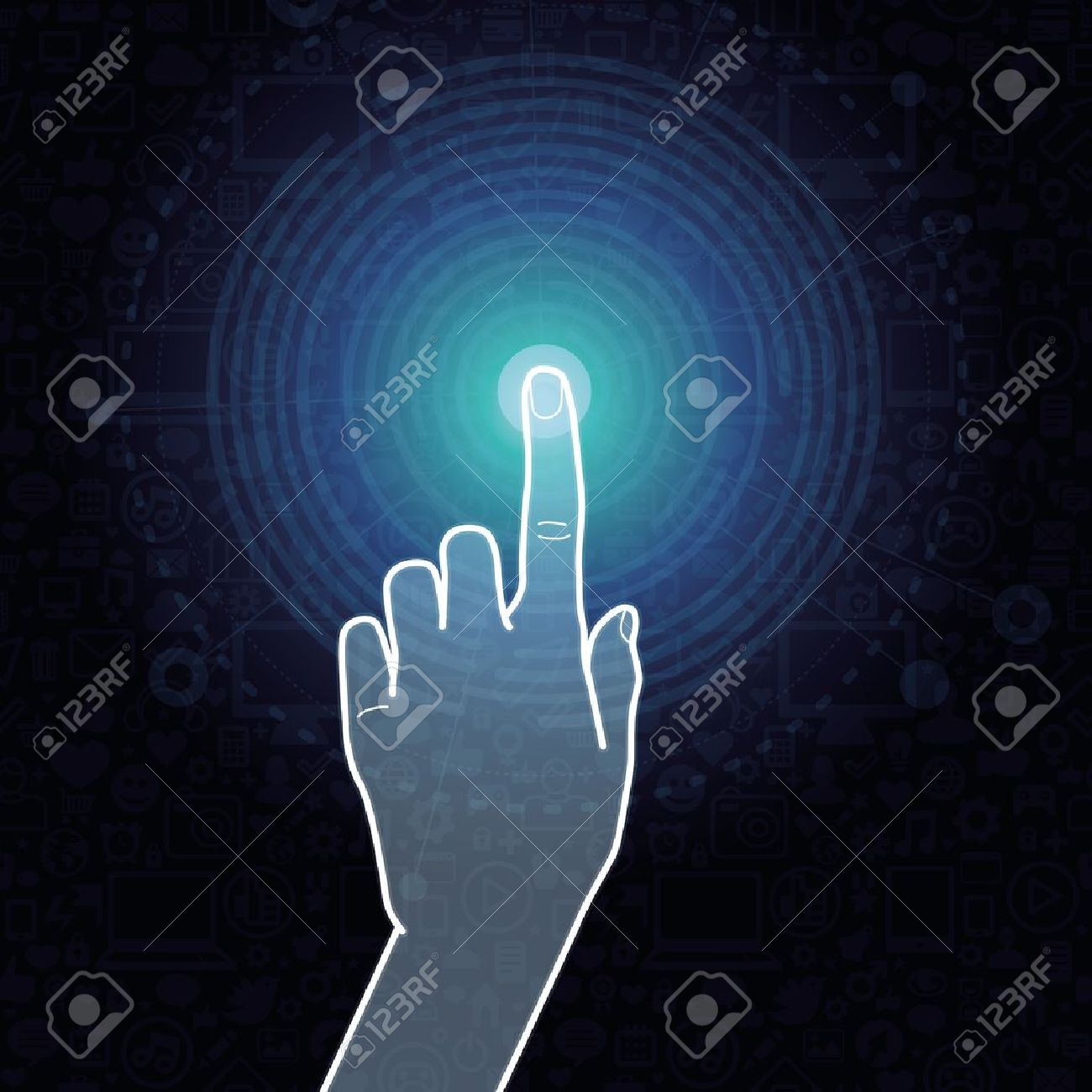 Vector touchscreen concept - hand touching internet sign Stock Vector - 16307121