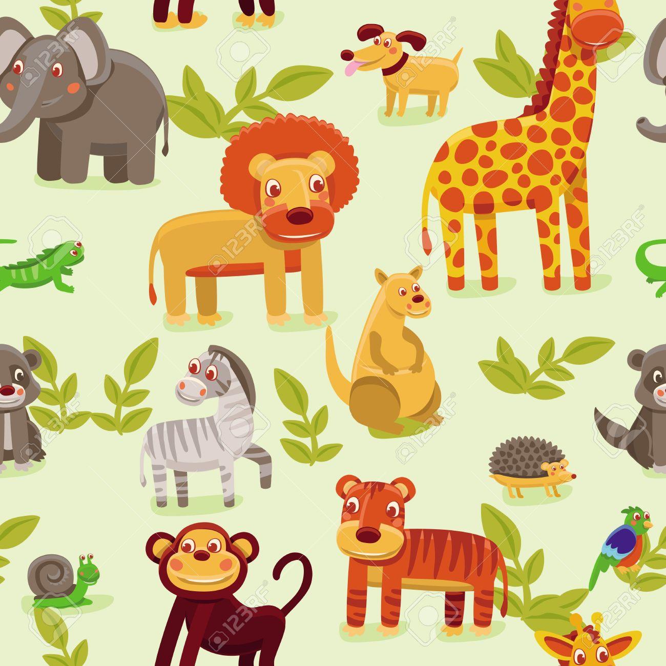 vector seamless pattern with cartoon animals wallpaper background for kids stock vector 16595632 - Kids Cartoon Animals