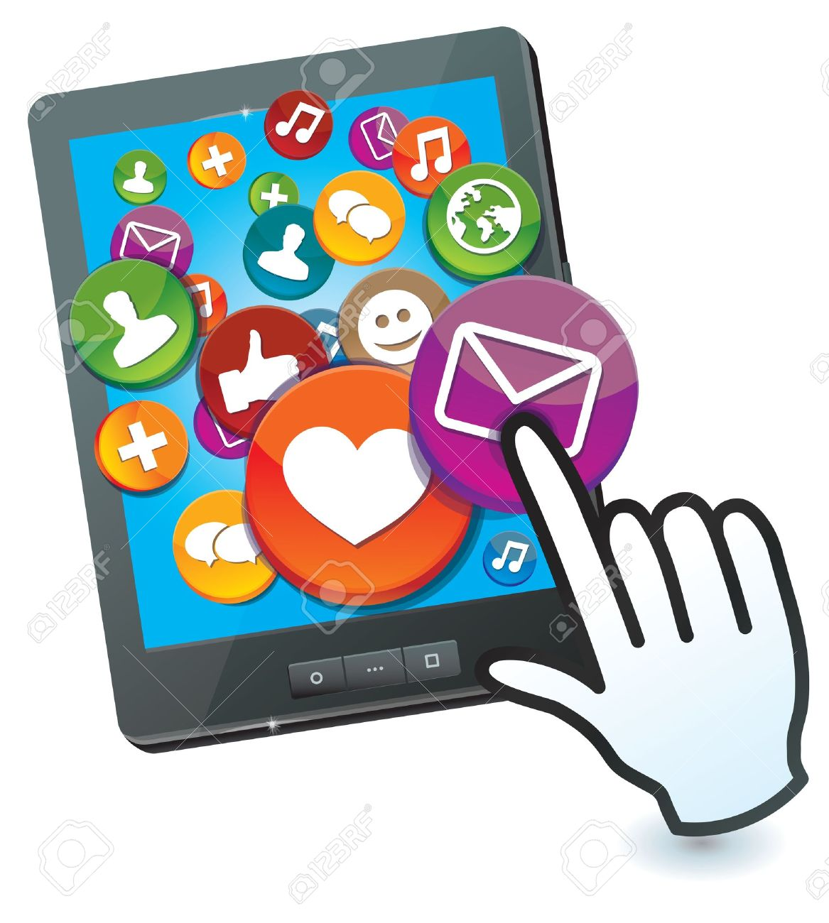 tablet pc with social media icons and hand cursor Stock Vector - 16595576