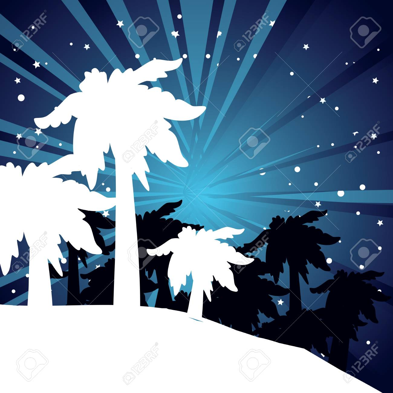 summer night with palm trees Stock Vector - 16595656