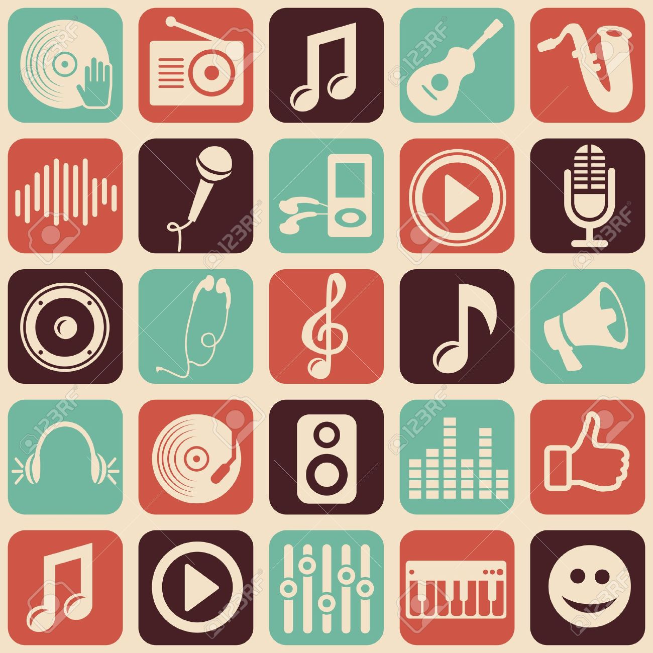 music seamless pattern with icons Stock Vector - 17716320