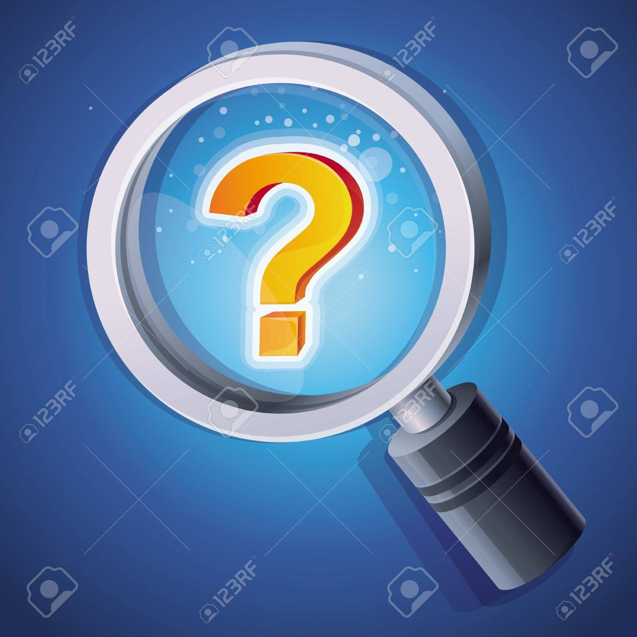 magnifying glass with question mark - help concept Stock Vector - 17718584