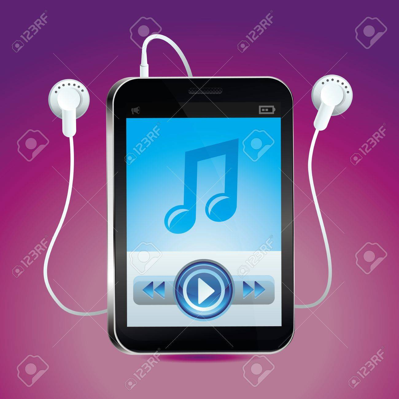 Vector music player with touchscreen and play button - bright icon Stock Vector - 19160214