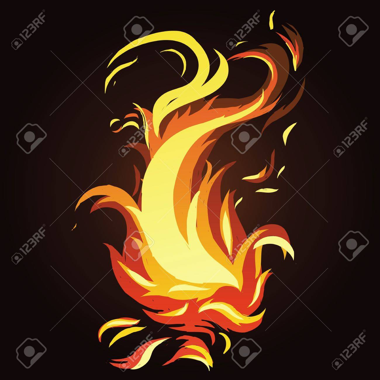 Vector abstract fire - bright icon on dark background Stock Vector - 19255085