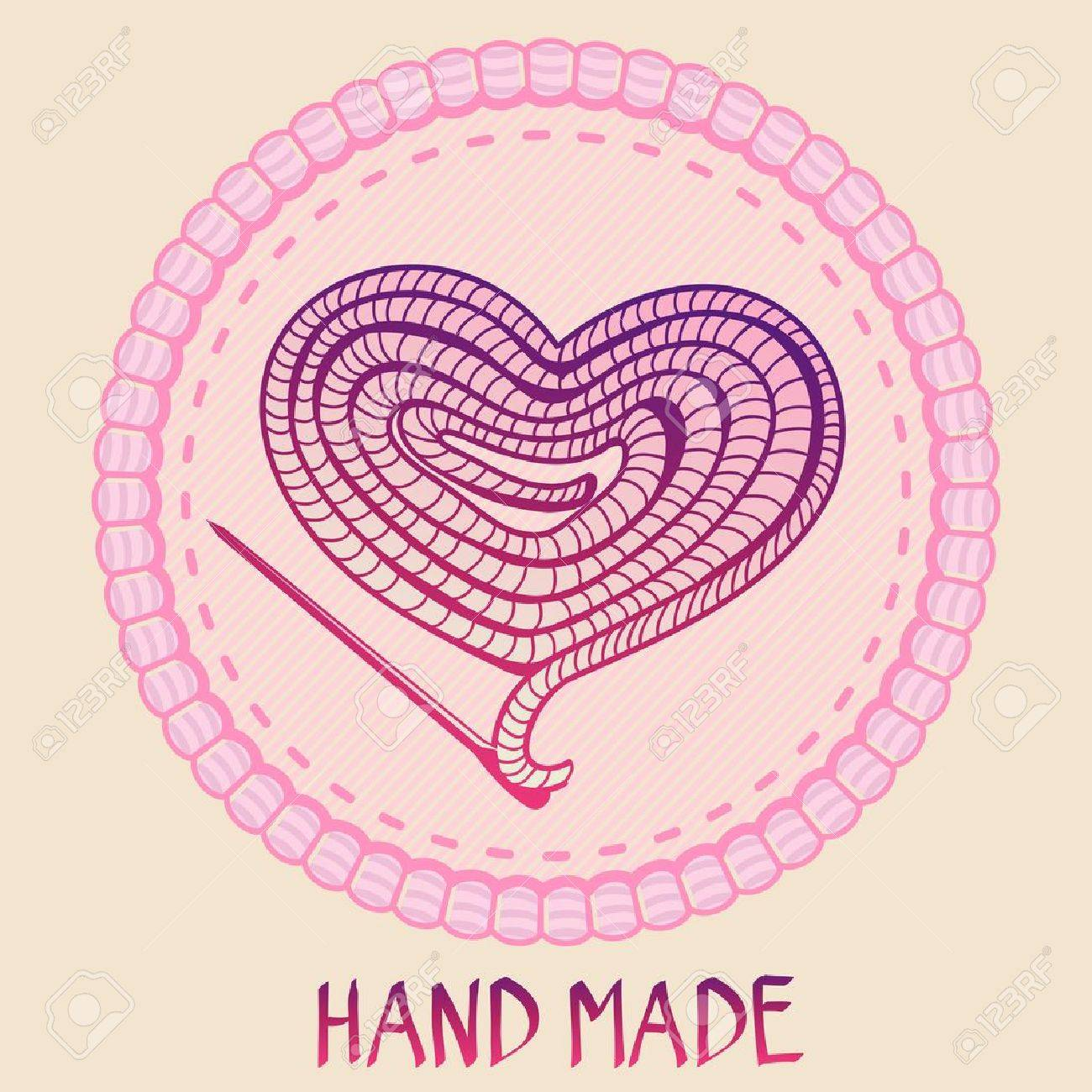 Vector hand made emblem - thread and needle in shape of heart - made with love - 19413291
