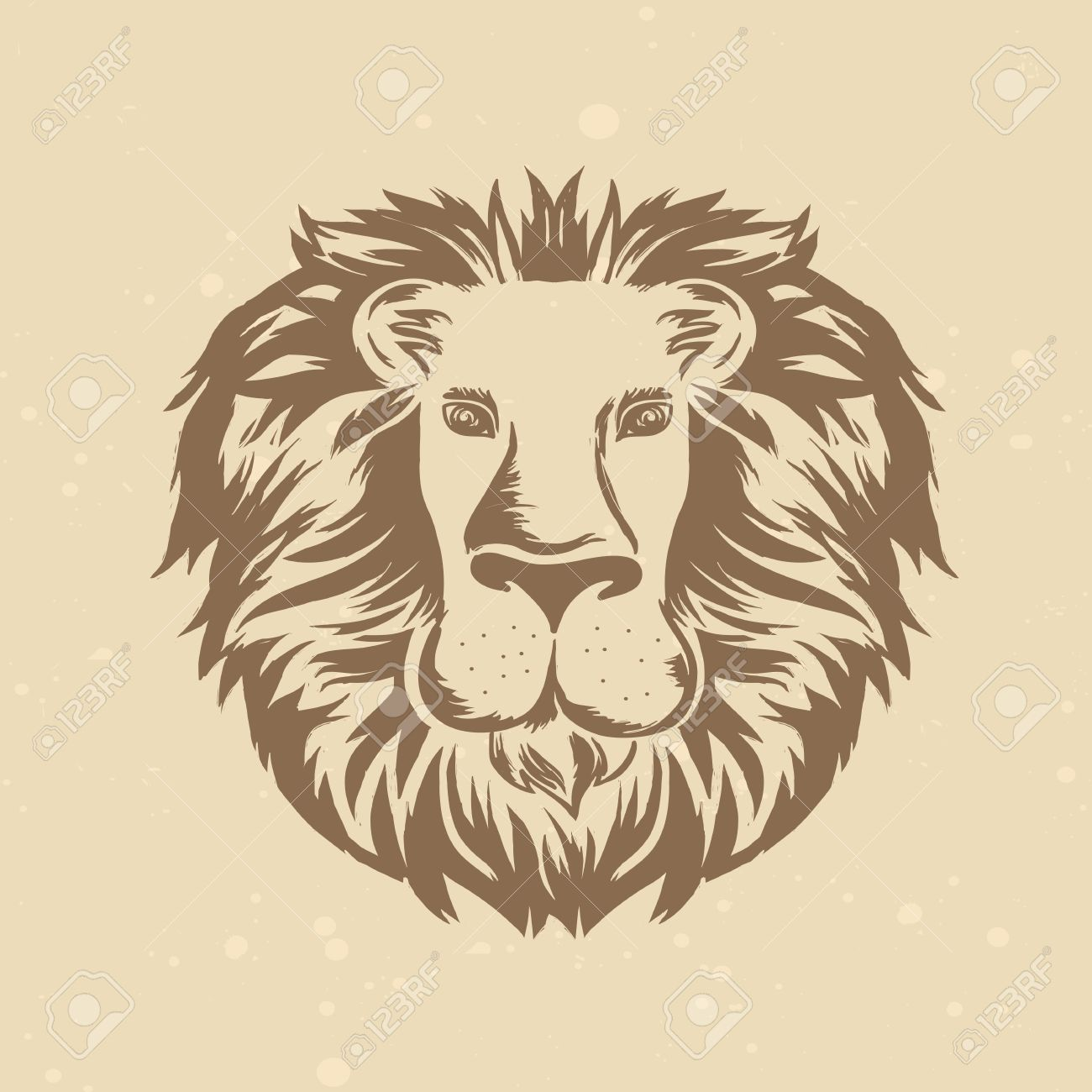 lion head in engraving style - vintage illustration Stock Vector - 19626681