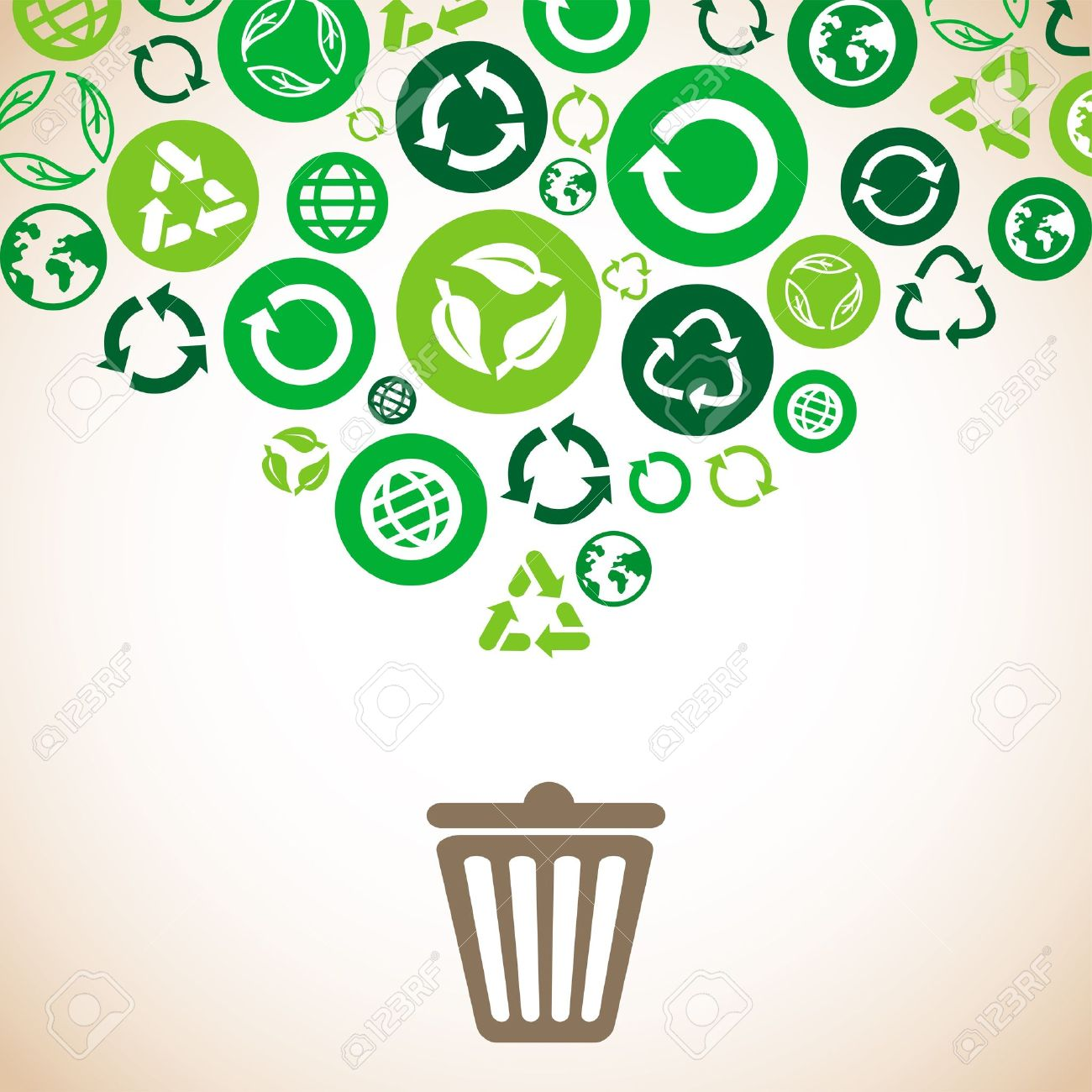 ecology concept with recycle signs and symbols in green color Stock Vector - 19626661