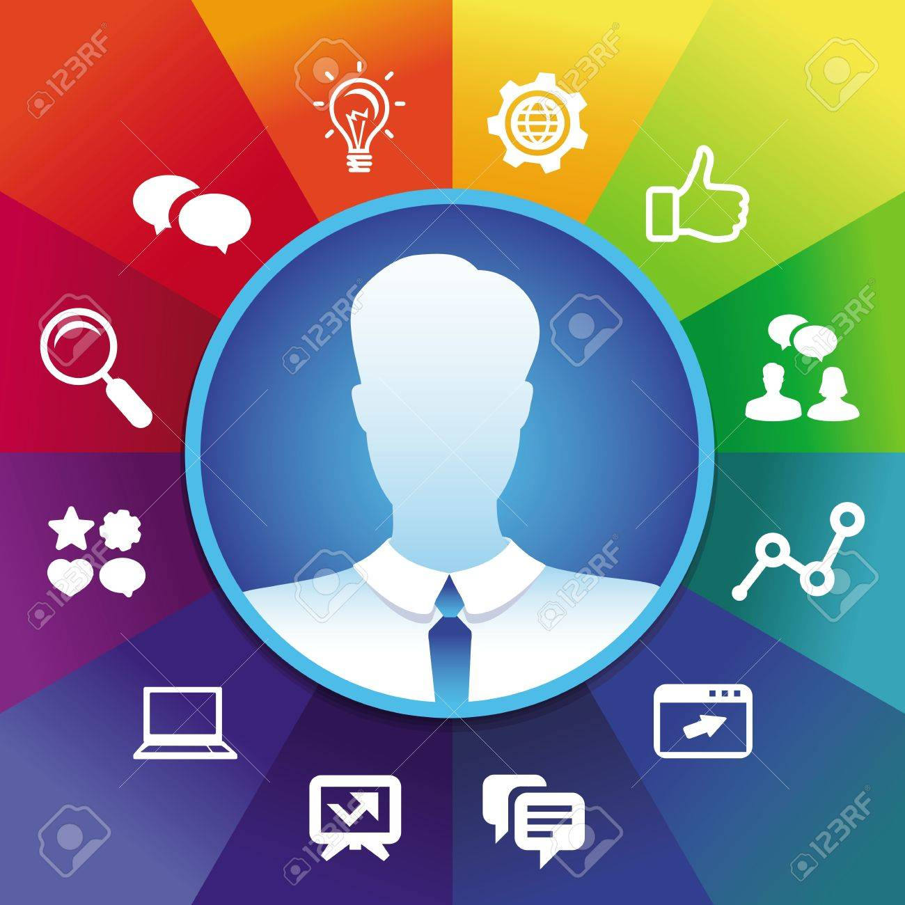 businessman avatar in circle frame and social media icons - internet marketing concept Stock Vector - 19626717