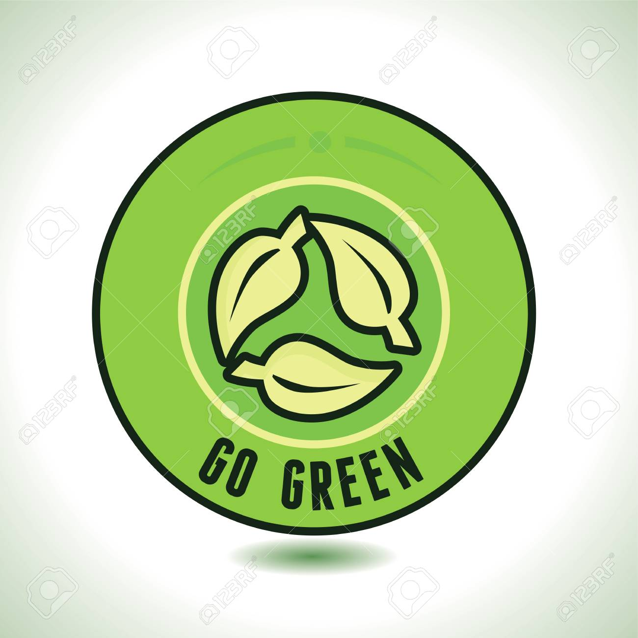 Round Label With Recycle Symbol And Text Go Green