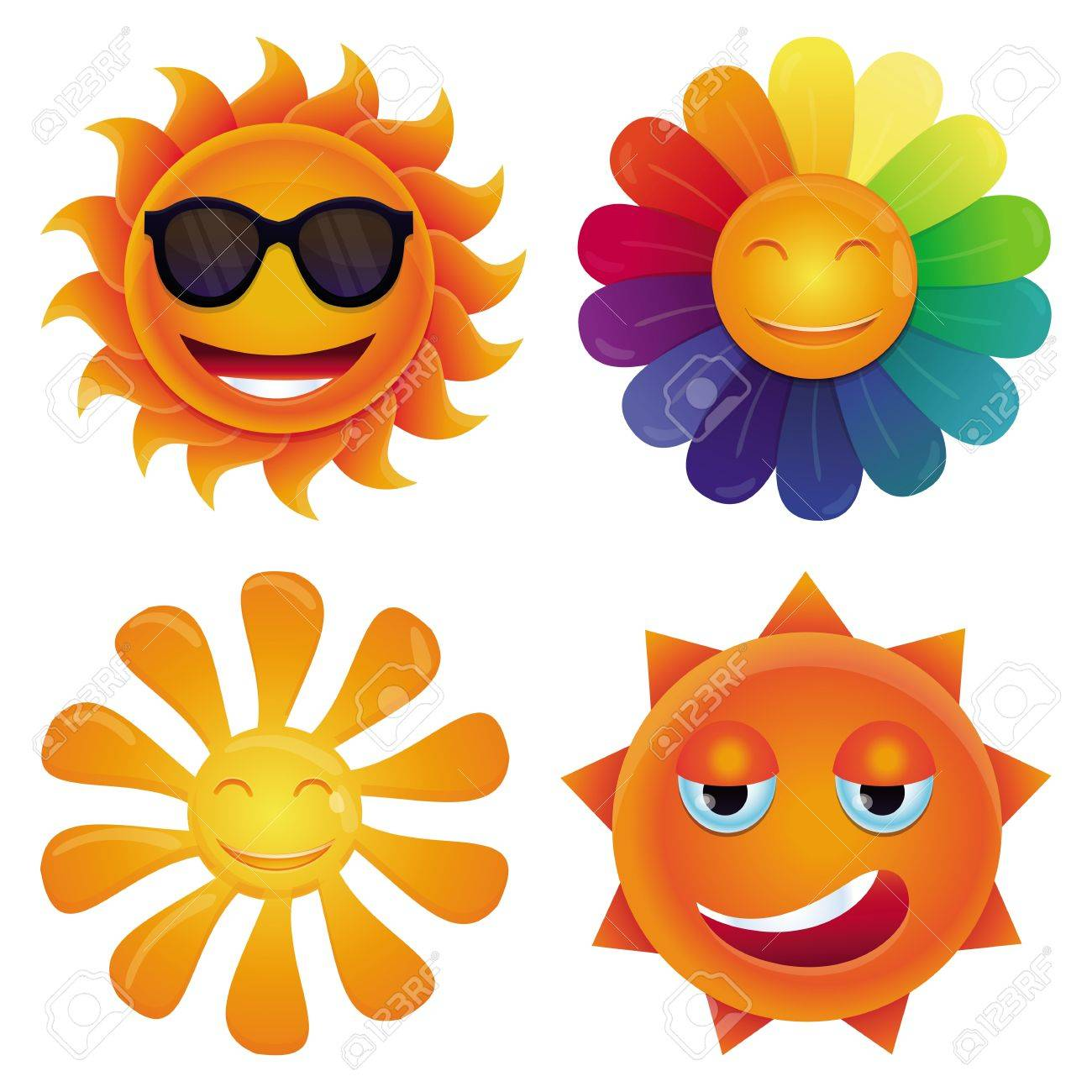 cartoon sun - with circle face and hipster sunglasses Stock Vector - 20331811