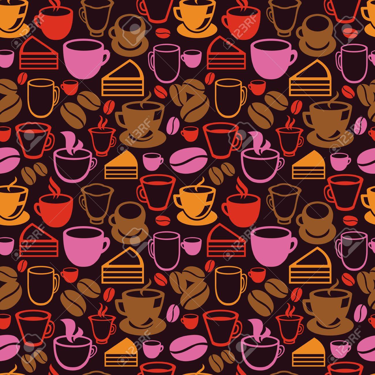 Vector seamless pattern with tea and coffee cups - background in vintage style Stock Vector - 20472358