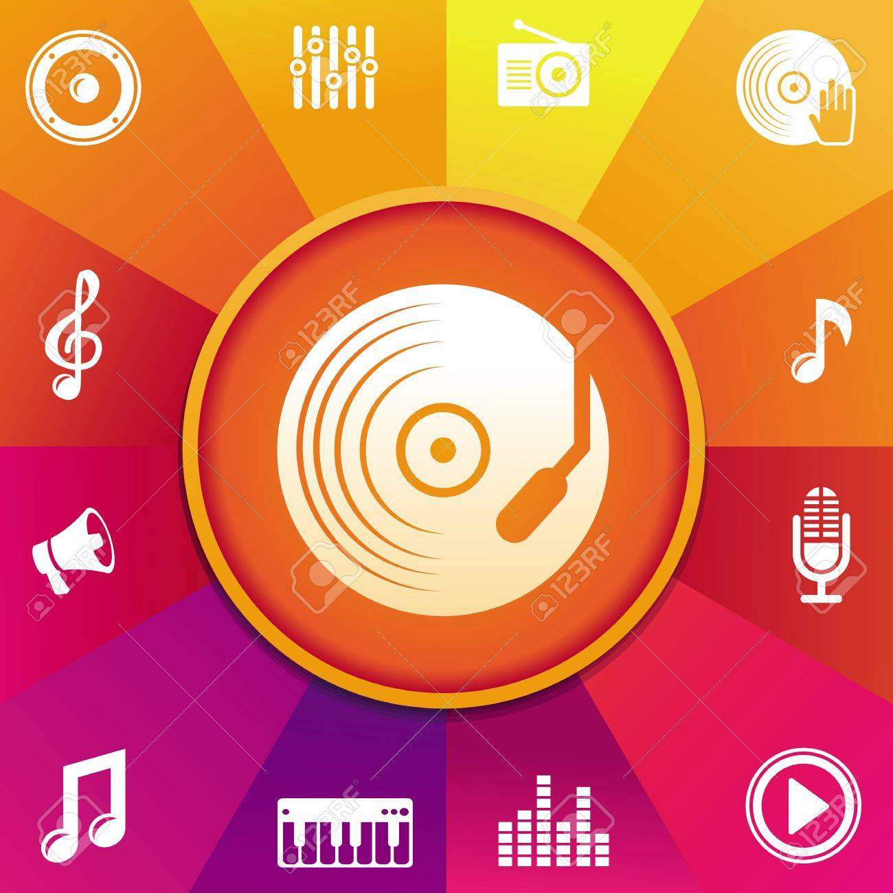 music concept - icons on round background in rainbow color Stock Vector - 20958850
