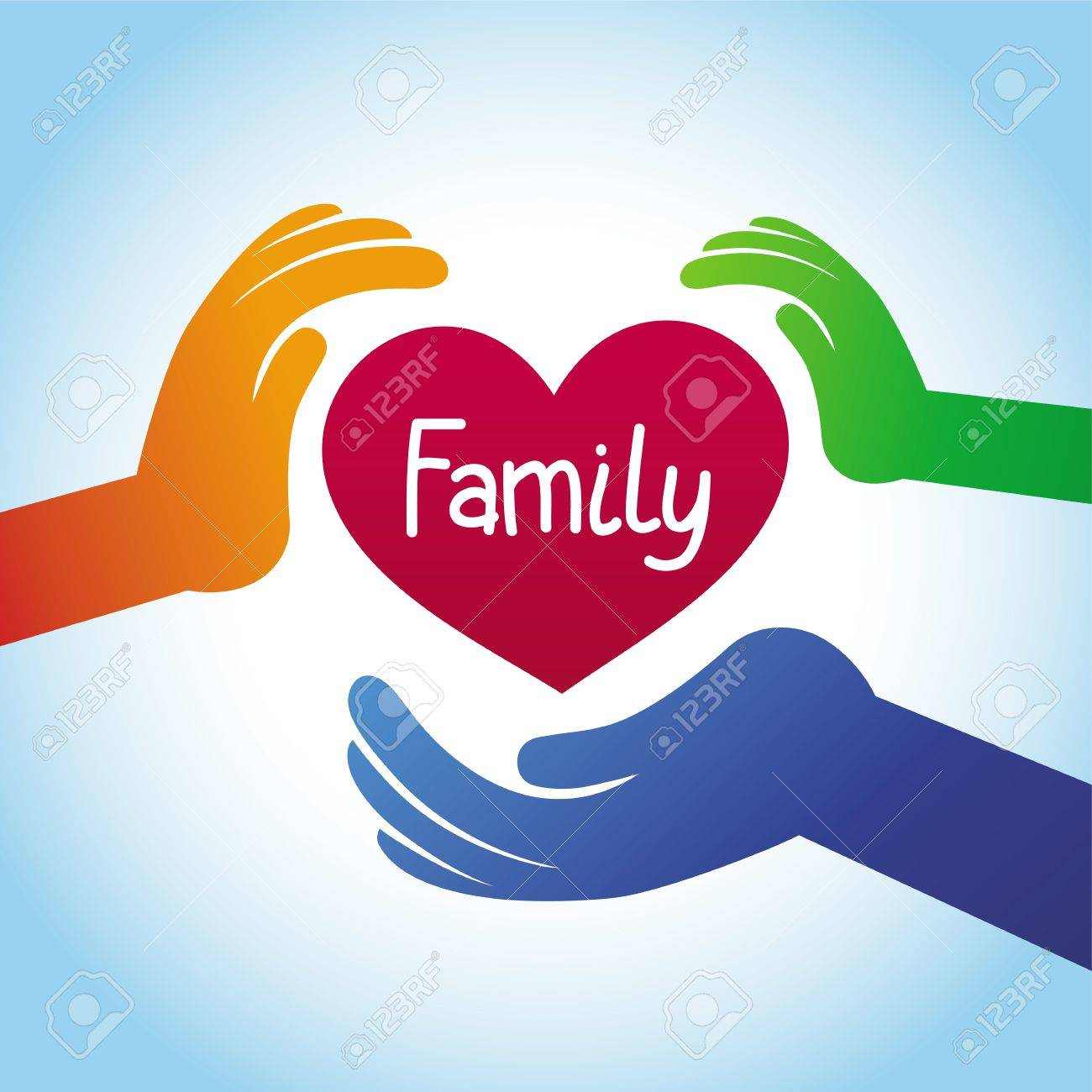 family concept - heart shape and hands Stock Vector - 20958864