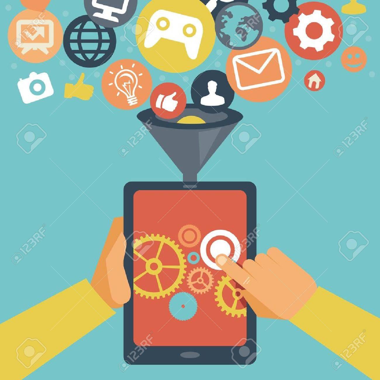 Vector mobile app development concept - hands holding tablet pc - 21316849