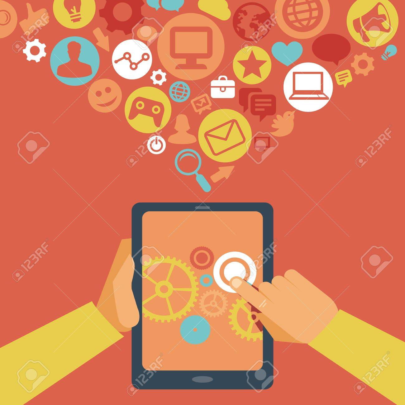 Vector  tablet pc in flat style and social media icons Stock Vector - 21316856