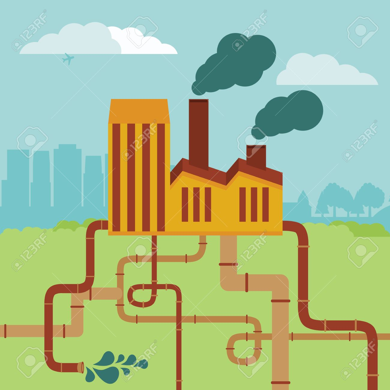 vector concept - factory building and landscape - air and soil