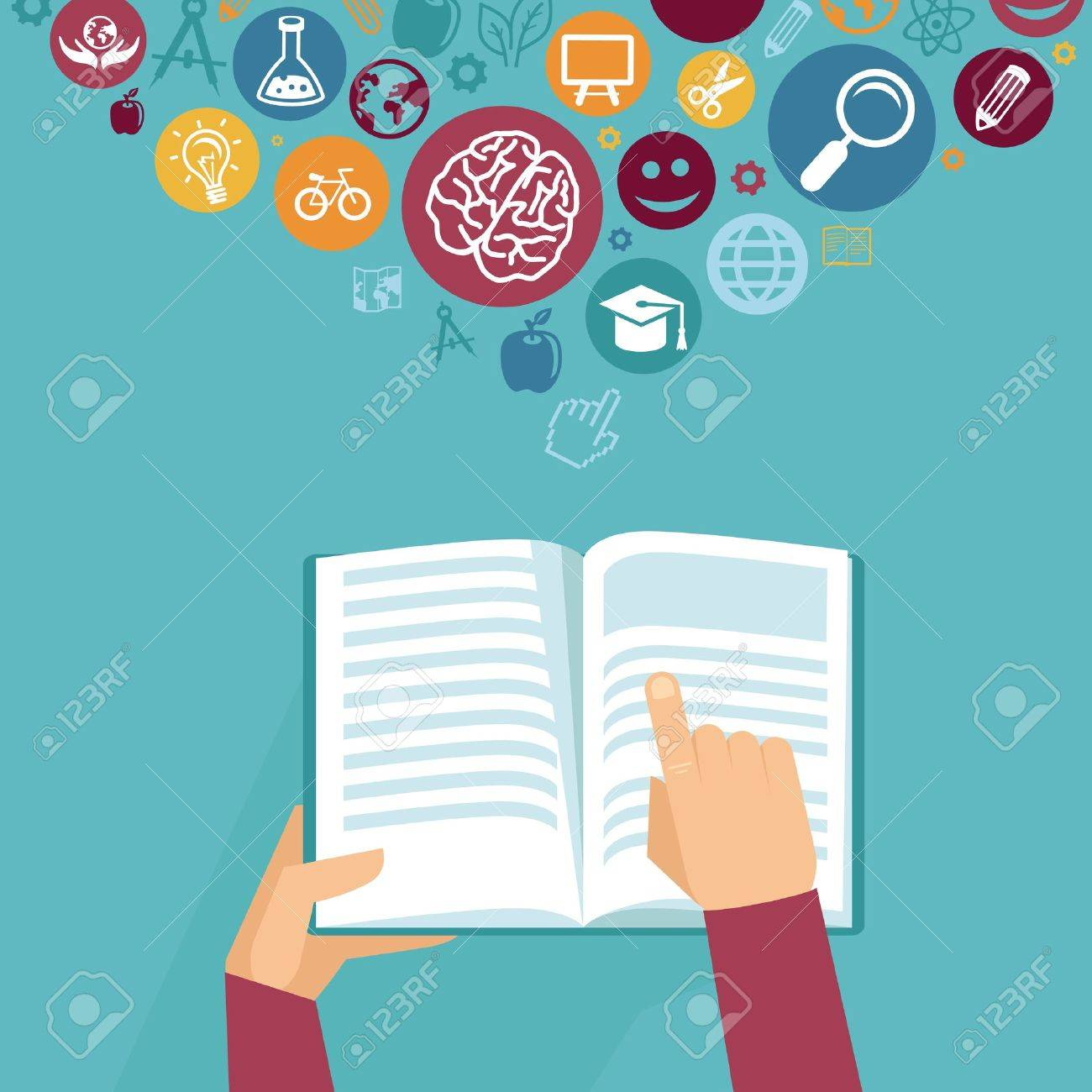 Vector education concept - hands holding book and icons in flat retro style Stock Vector - 21700905