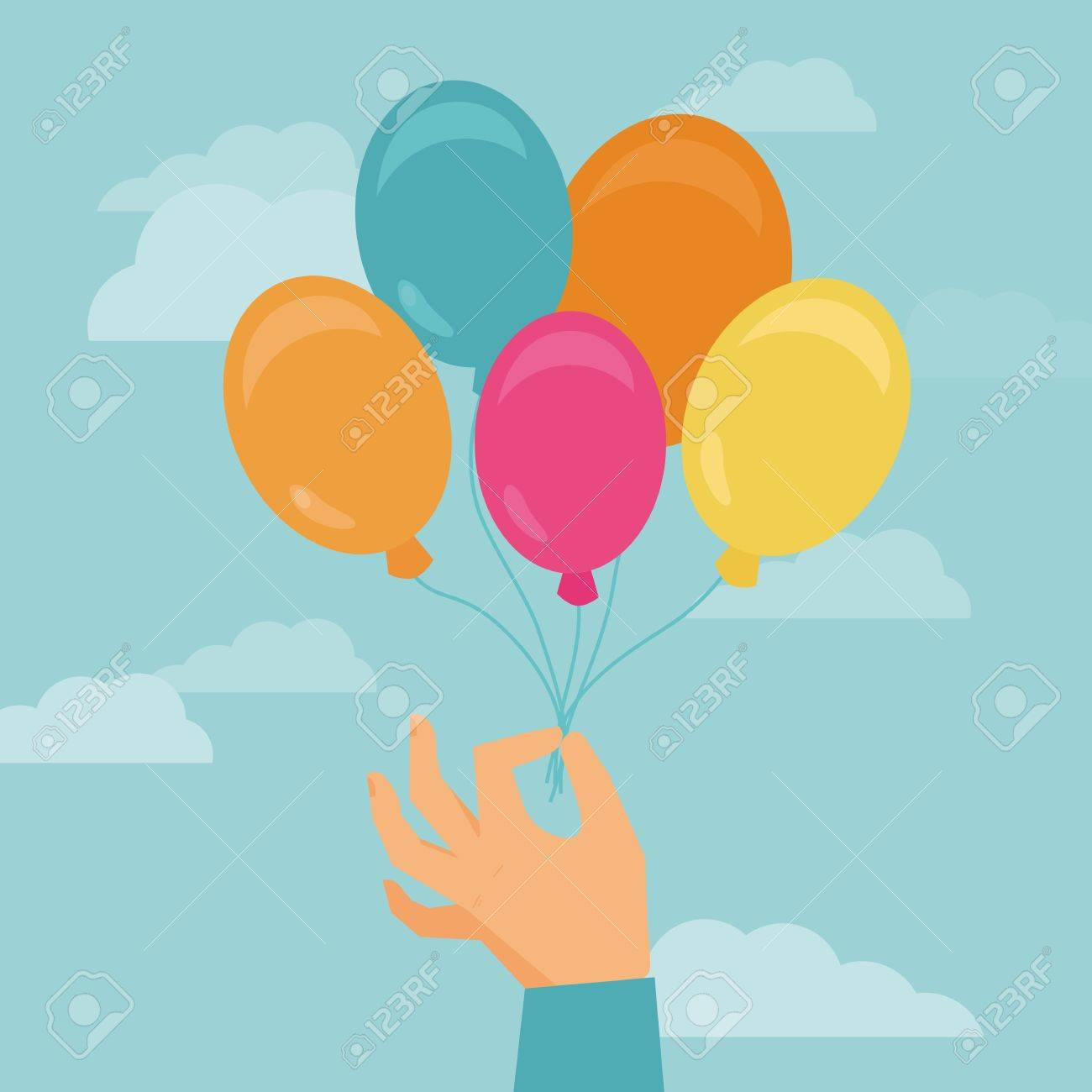 Vector hand holding balloons - greeting card in flat style Stock Vector - 21700907