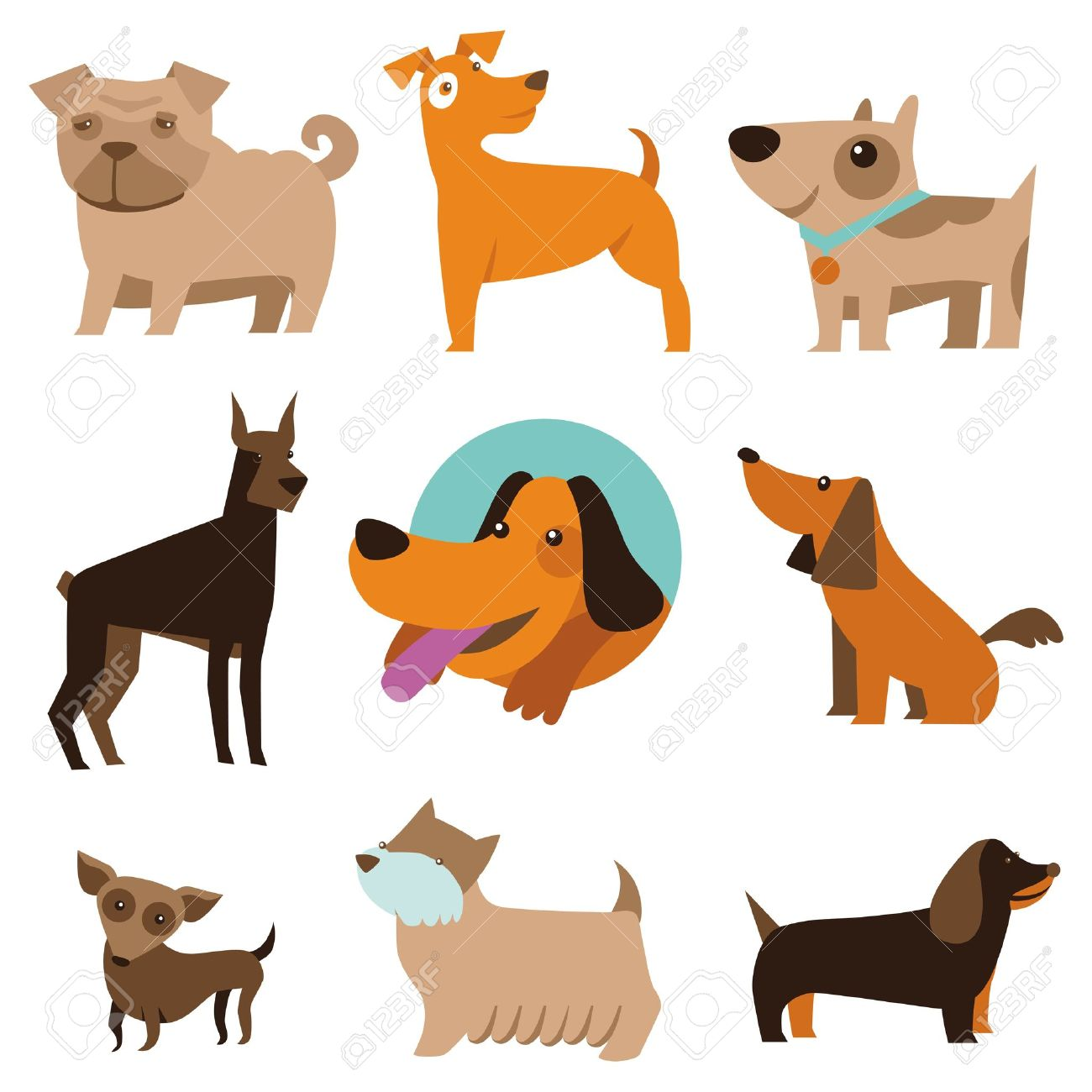Vector Set Of Funny Cartoon Dogs Illustration In Flat Style