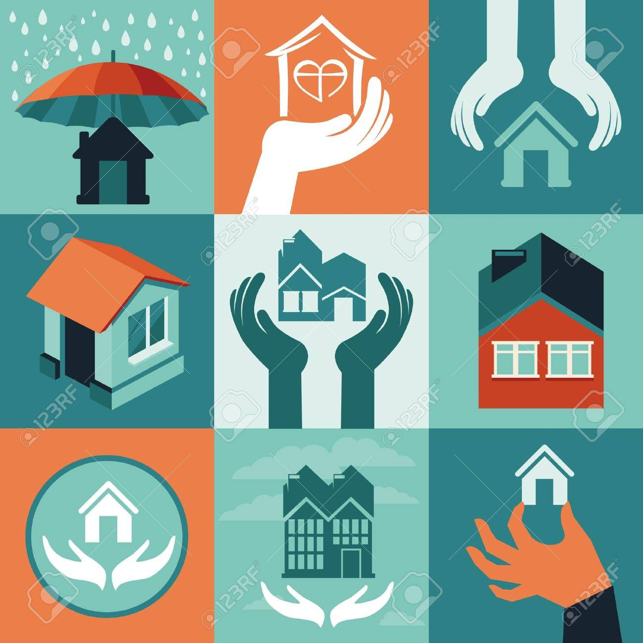 Vector house insurance - set of flat icons and banners Stock Vector - 21887589