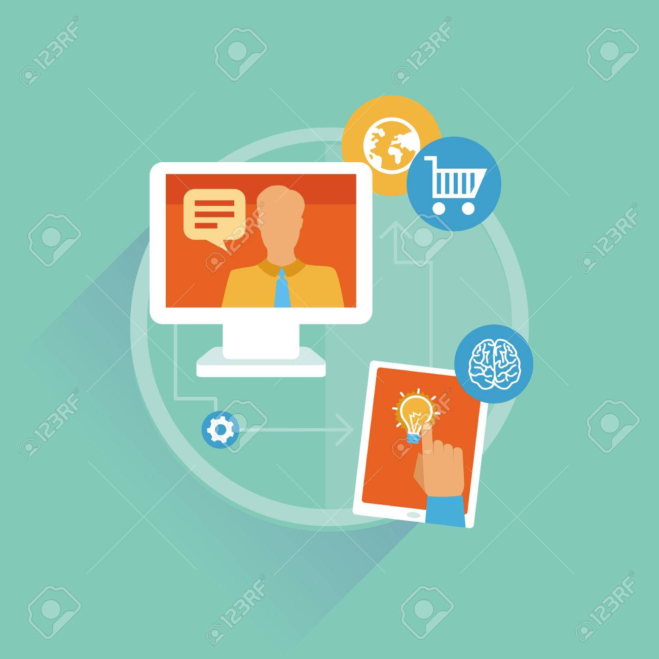Vector freelance work progress - job inquiry, payment and development icons Stock Vector - 22677464