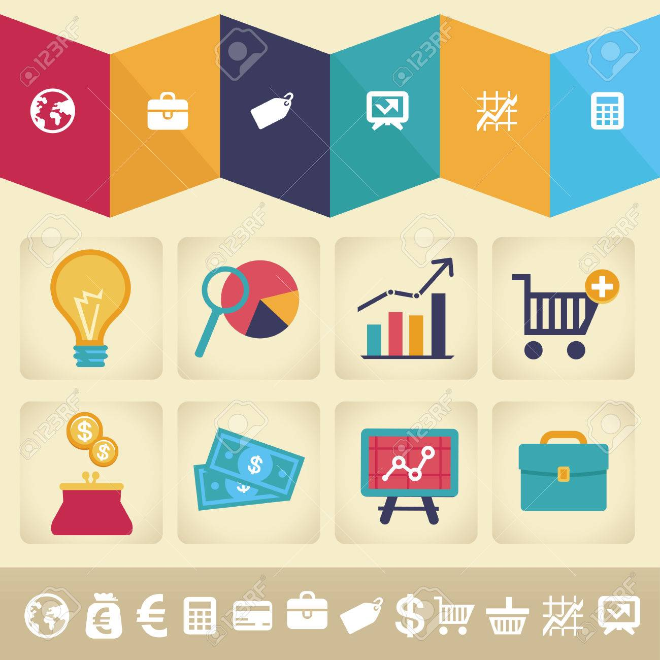 Vector icons and infographic design element in flat retro style - finance and business illustration Stock Vector - 22677504