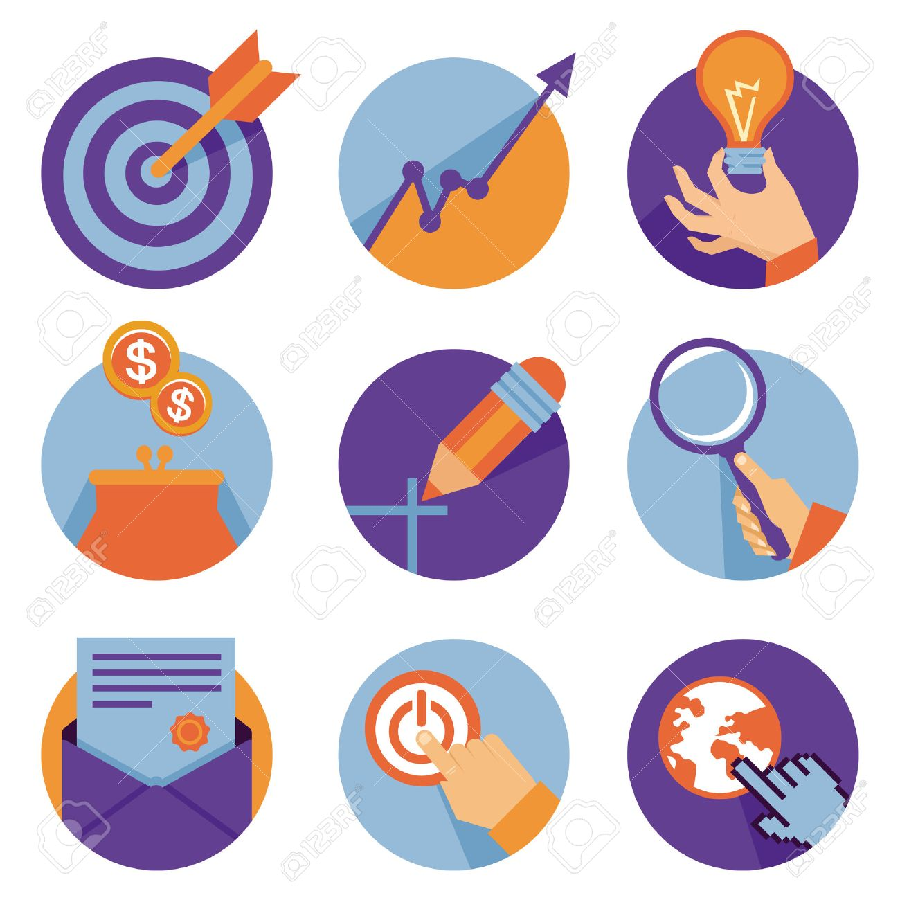 Vector icons in flat retro style - business and development illustrations Stock Vector - 22677502