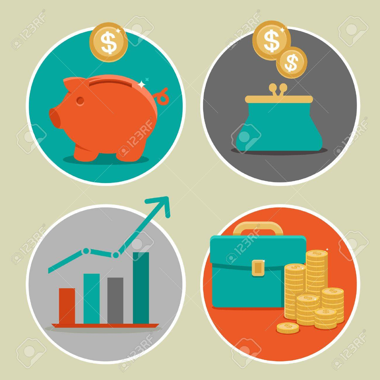 Vector money and business icons in flat style - infographic design elements - 23366275