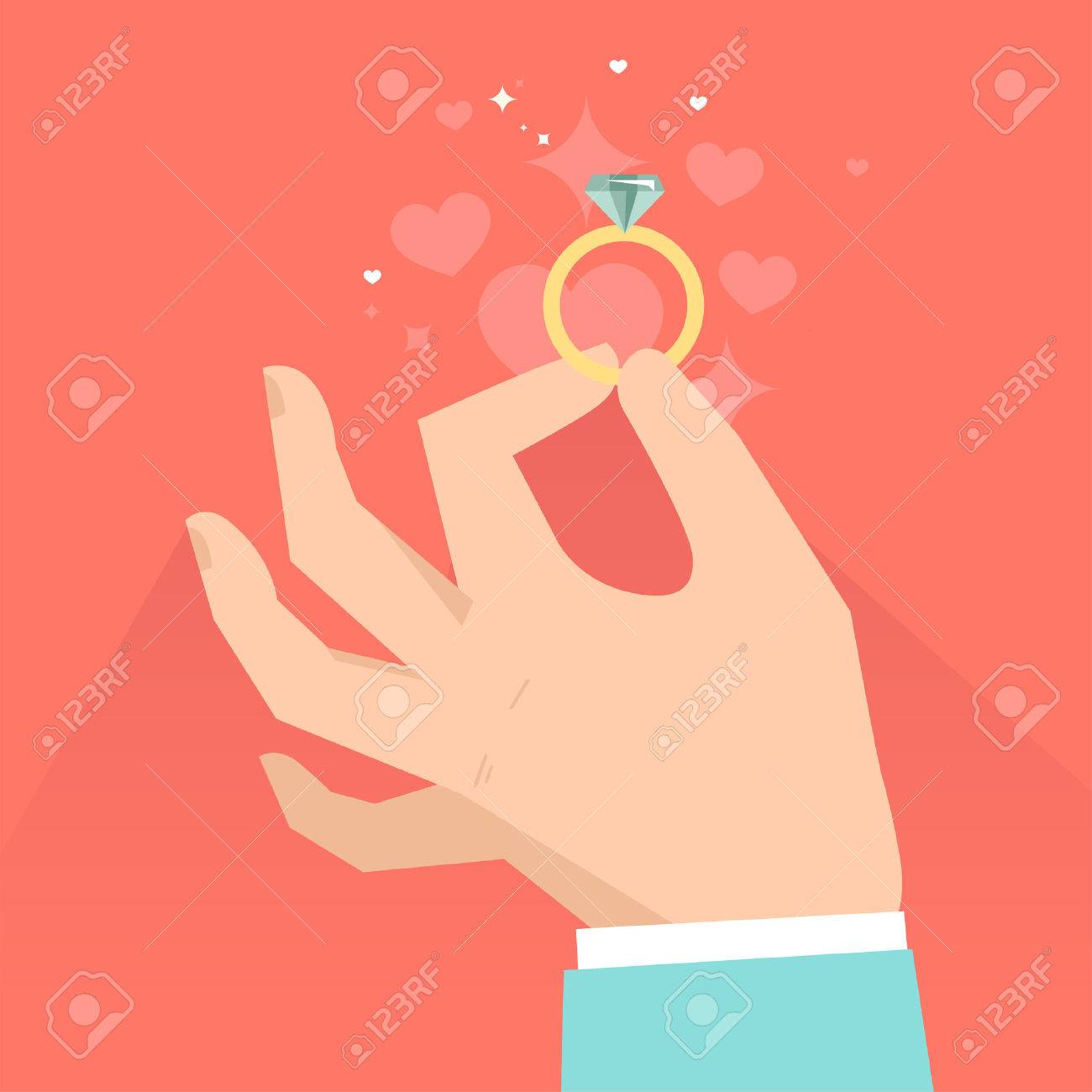 Vector valentine day greeting card in flat style - male hands holding engagement ring in flat style - 24960205