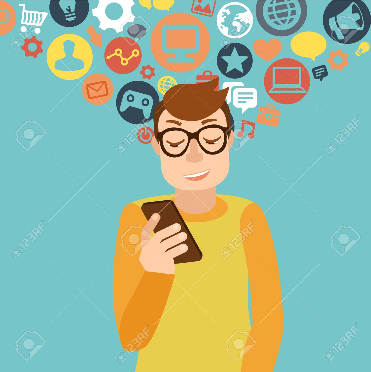 Vector man wearing glasses in flat style - smartphone addiction concept Stock Vector - 25122462