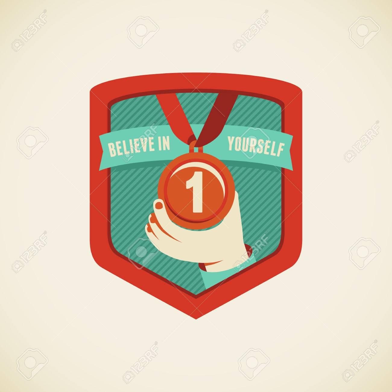 Vector badge in flat style - believe in yourself Stock Vector - 25253572