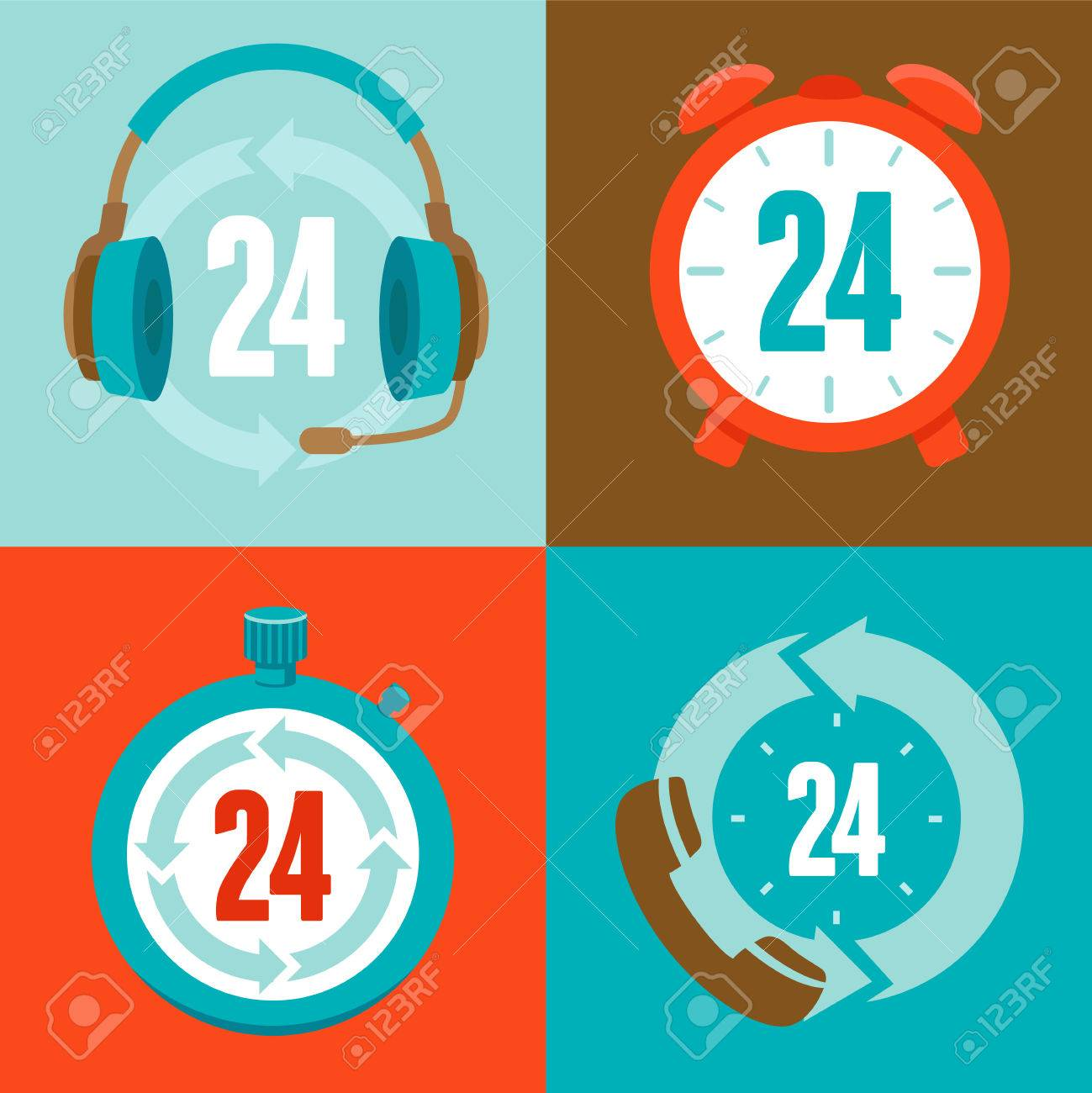 Twenty four hour support - flat vector icons and signs Stock Vector - 26056099