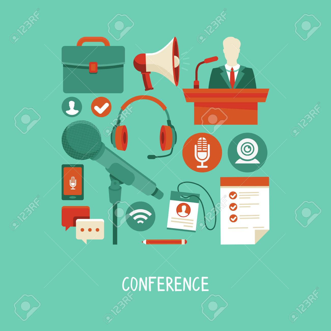 business conference concept in flat style - webinar and online meeting icons and signs Stock Vector - 26497014