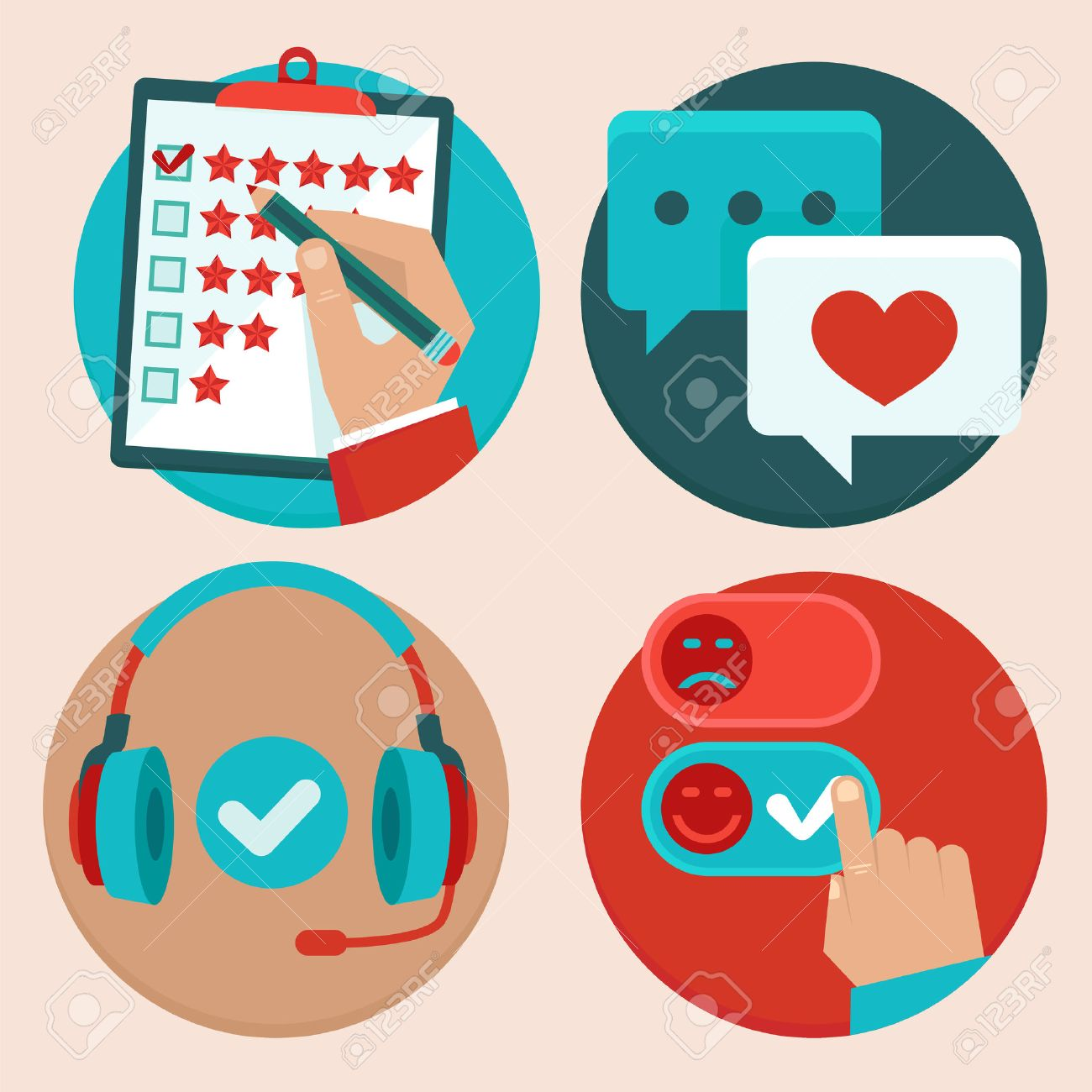 Set Of Customer Service In Flat Style - Feedback, Survey And ...
