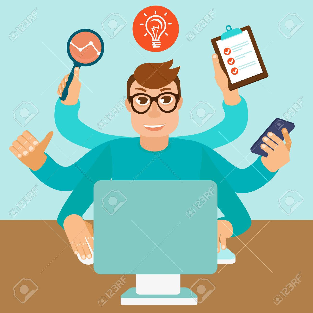 home office multitasking. Self Employment Concept In Flat Style - Multitasking Man Working On Different Projects From His Home Office I