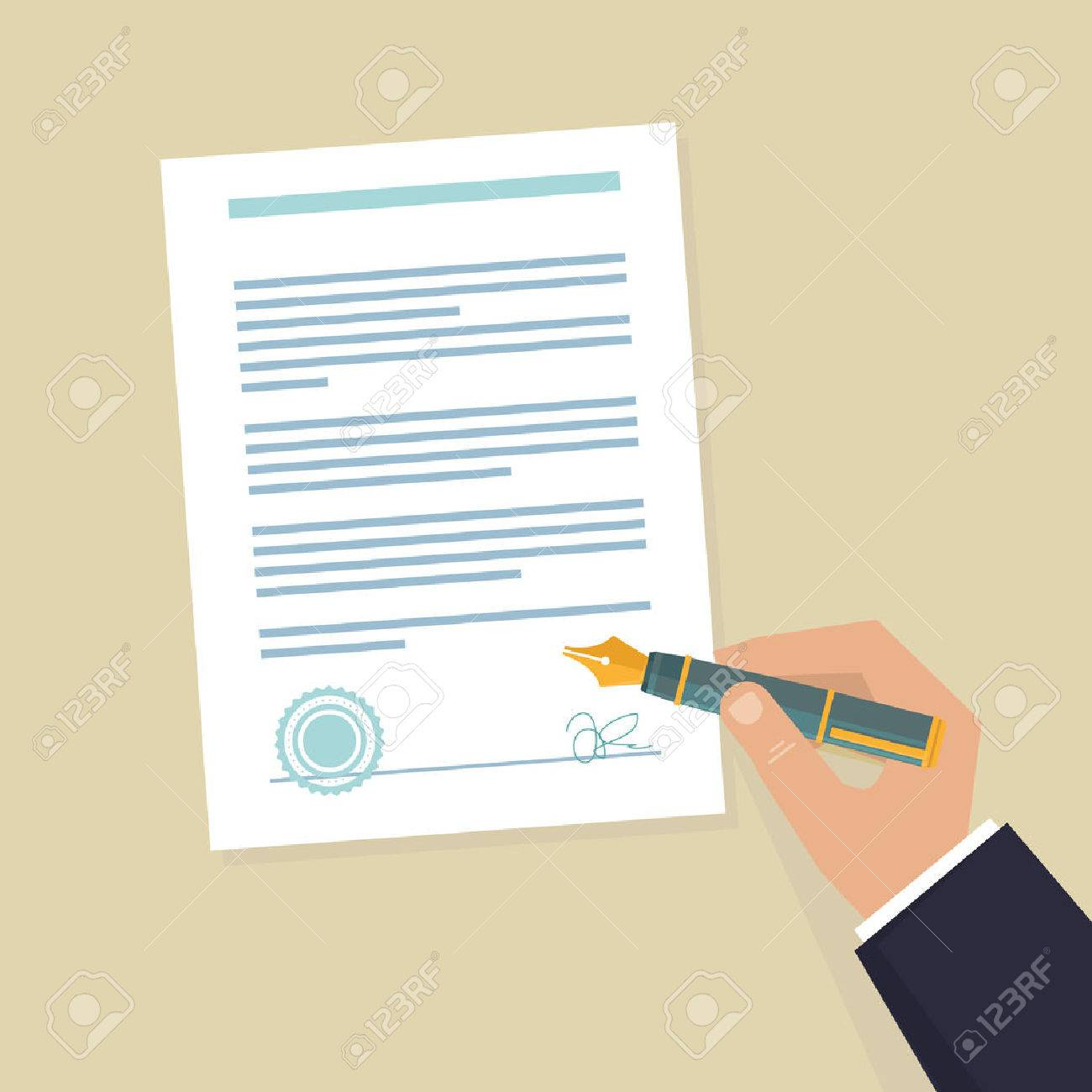 Vector agreement icon - flat illustration - hand signing contract on white paper - 27316502