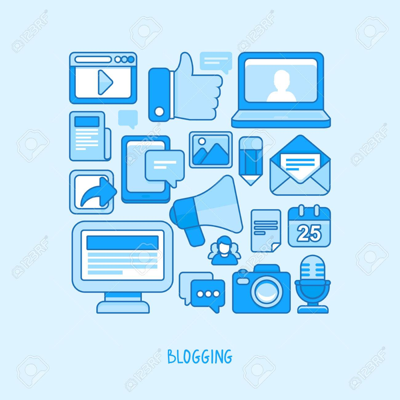 concept in flat style with trendy outline icons - blogging and writing for website Stock Vector - 29042211