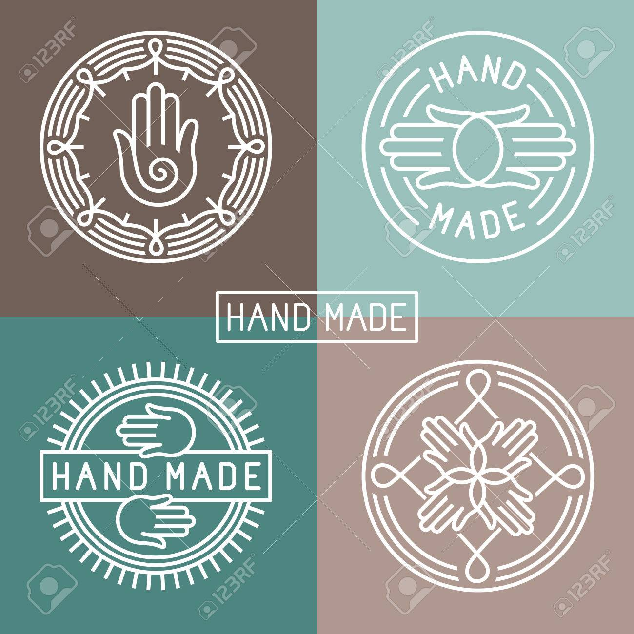 hand made label in outline trendy style - hands icon and text - 29100096