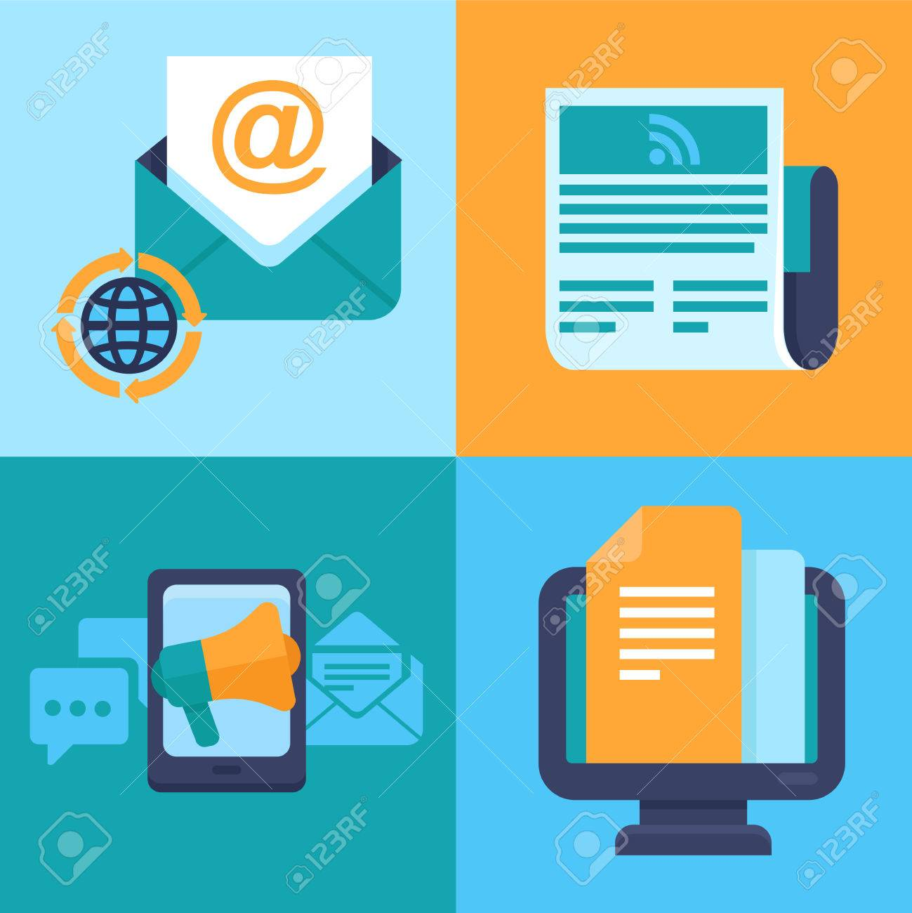 email marketing concepts - flat trendy icons - newsletter and subscription Stock Vector - 29266757