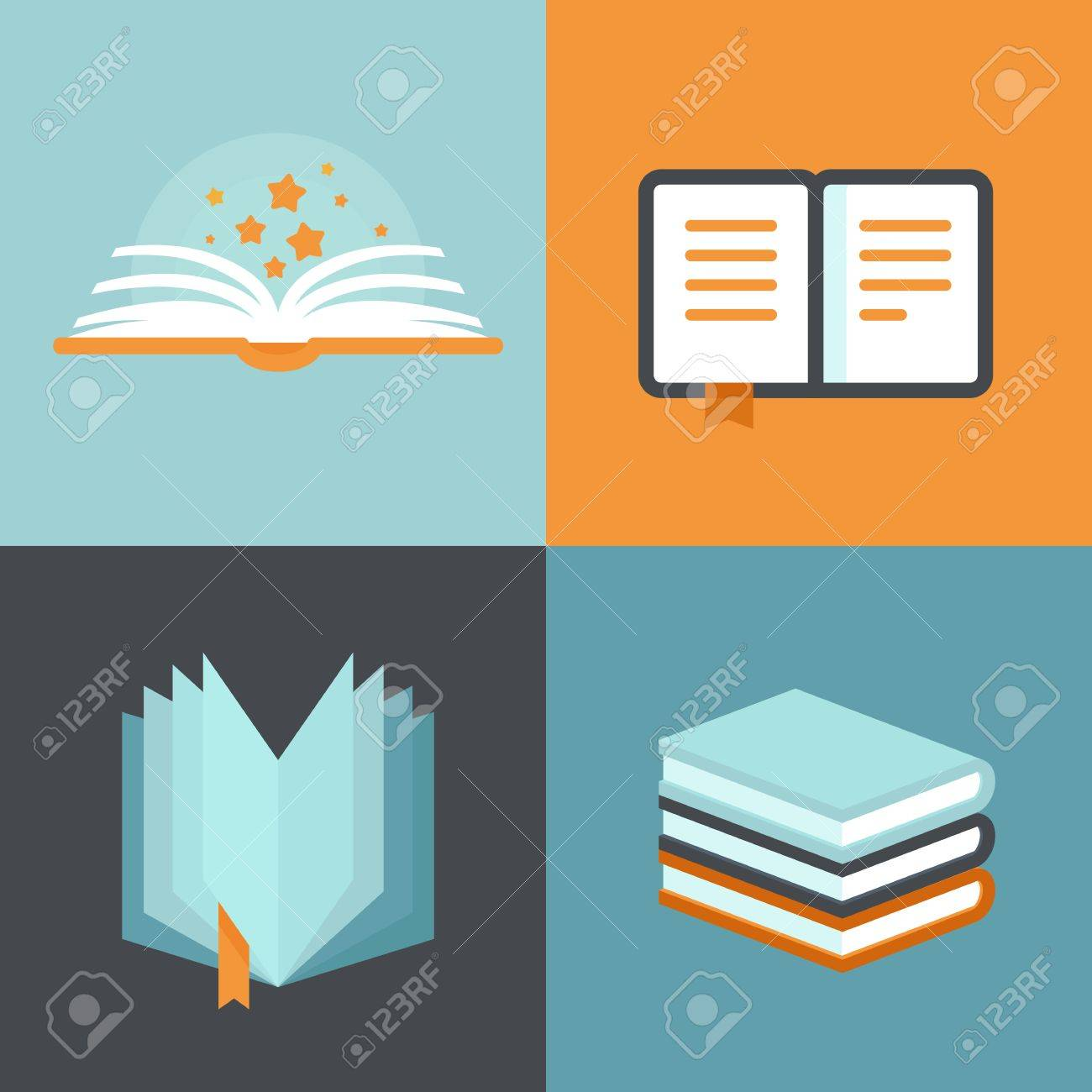 Vector Book Signs And Symbols Education Concepts In Flat Style