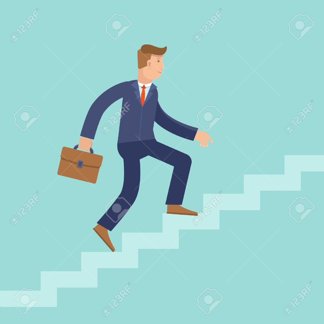 Vector Career Concept In Flat Style - Cartoon Man Climbing The ... for Climbing Stairs To Success  67qdu