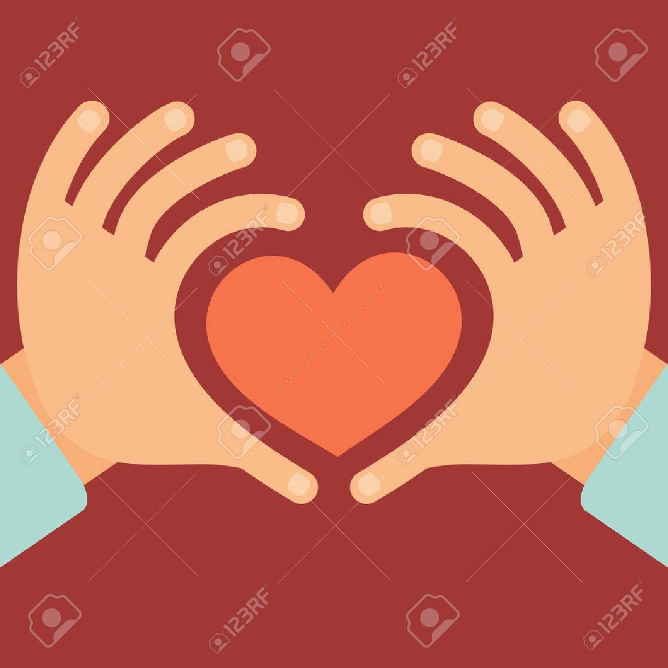 Vector hands in the form of heart - love and charity concept in flat style - 30493057