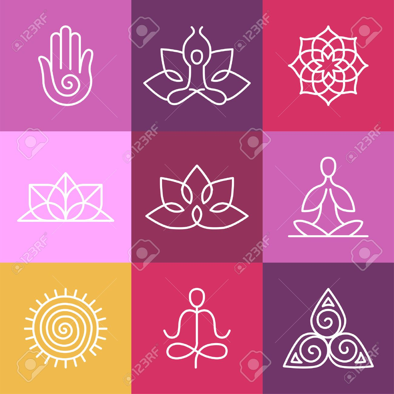 Vector yoga icons and round line badges - graphic design elements in outline style  or logo templates for spa center or yoga studio Banque d'images - 32350405