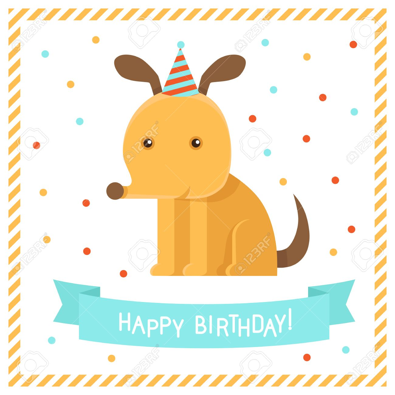 Vector Greeting Card In Flat Style With Funny Dog Happy Birthday – Happy Birthday Dog Card