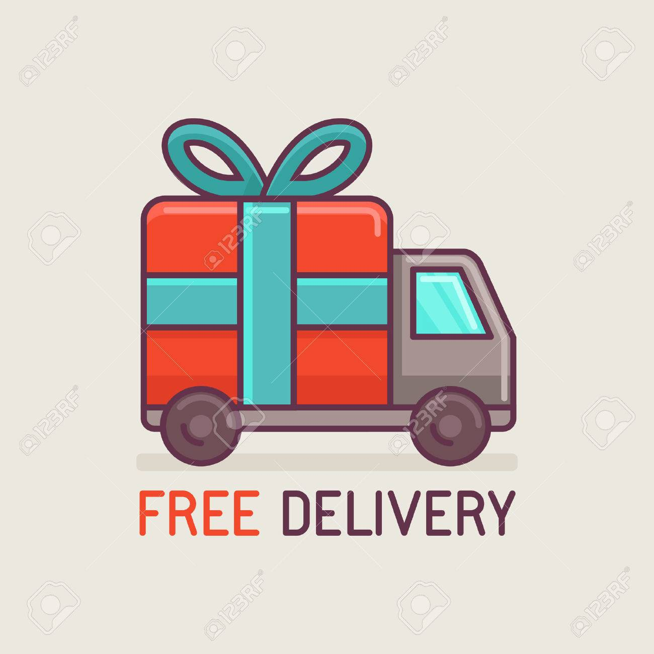 Vector free delivery concept in flat style - truck with gift - 33827797