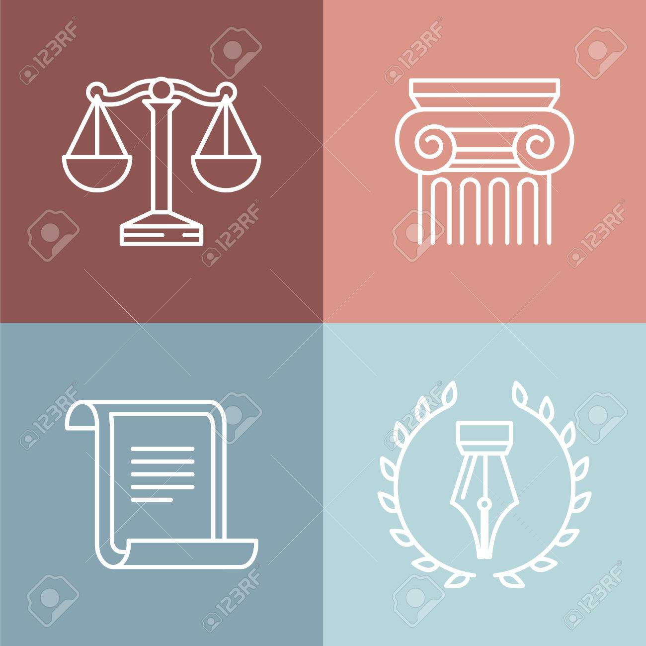 Vector set of juridical and legal logos and signs - line icons - 34326816