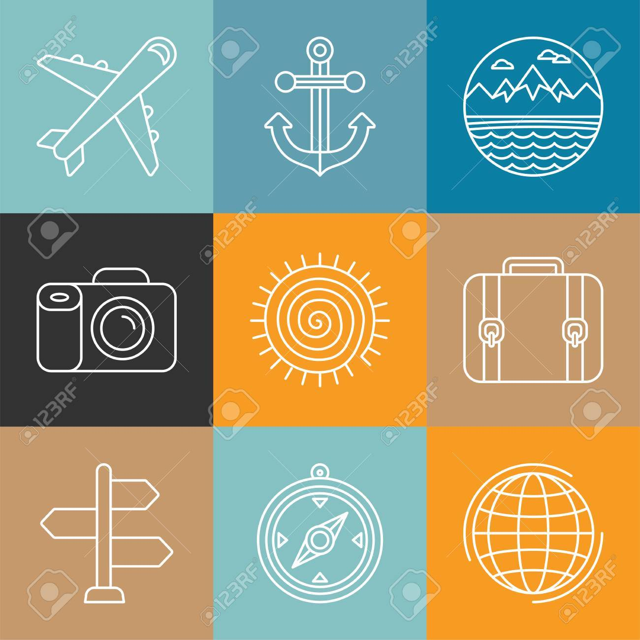 Vector Travel Icons In Outline Style