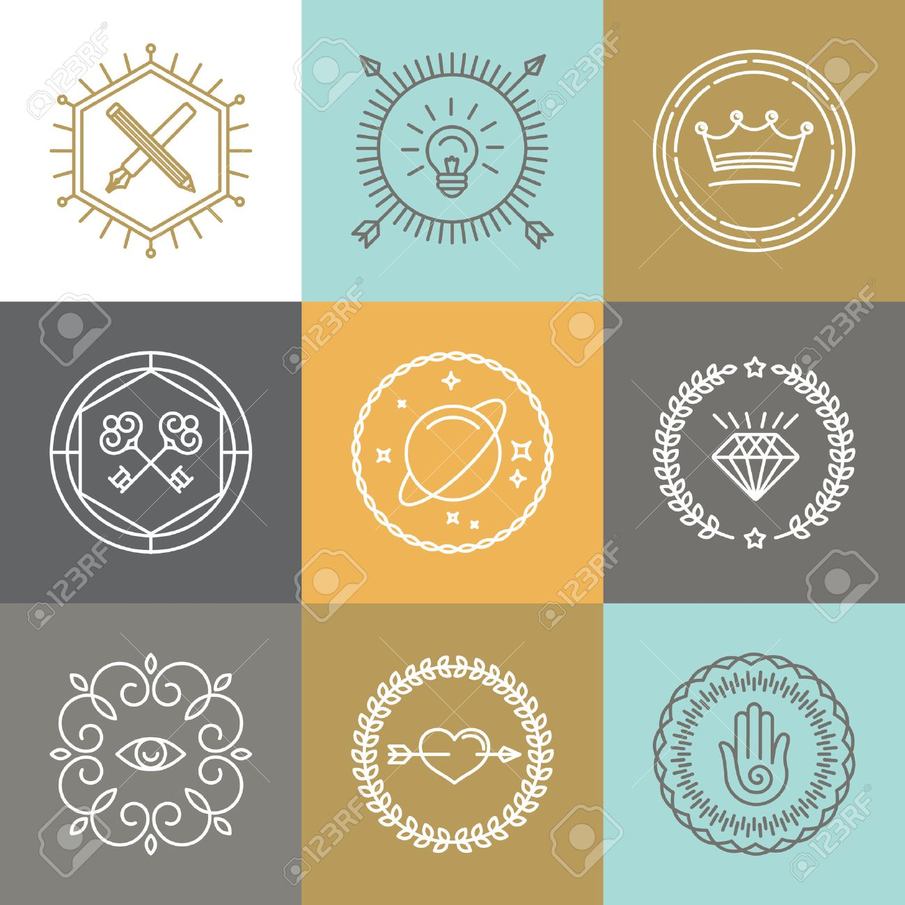vector abstract hipster signs and logo design elements in linear