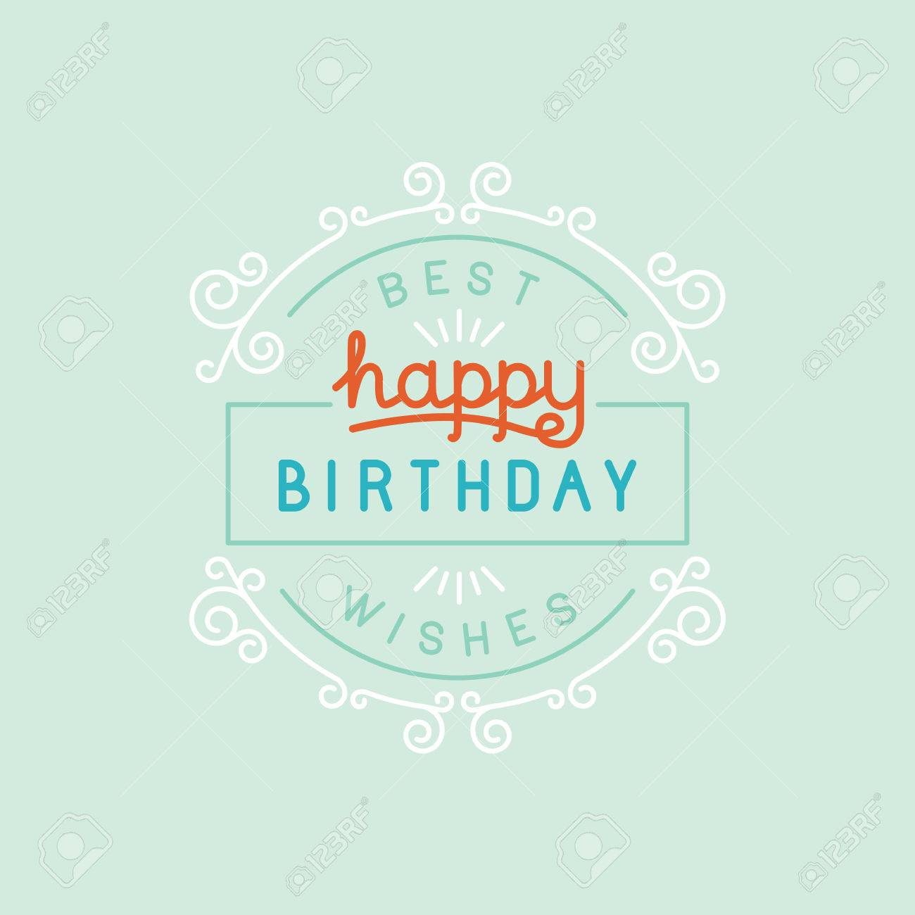 Vector Happy Birthday Greeting Card Design In Linear Style With
